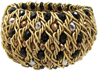 One Kings Lane Vintage Woven Metal Bracelet with Glass Beads - Thanks for the Memories