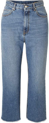 Alexander McQueen Cropped Frayed Jeans - Blue