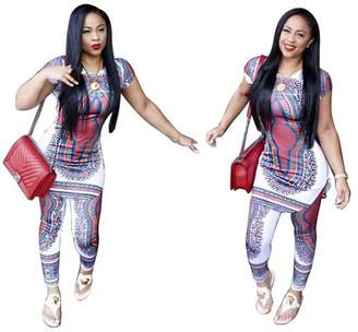 Hanyulore Fashion African Totem Printed Stretchy Casual Women Sets Long Comfortable T Shirt+ Ladies Pants Trousers