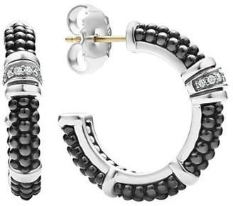 Lagos Sterling Silver & Ceramic Black Caviar Hoop Earrings with Diamonds