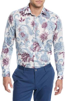 Etro Paisley-Print Long-Sleeve Sport Shirt, White/Multi