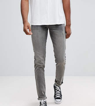 Asos TALL Skinny Jeans In Dark Gray With Abrasions