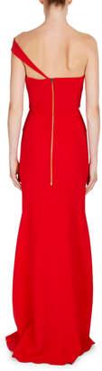 Roland Mouret Lockton One-Shoulder Crepe Gown