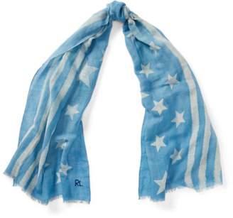 Ralph Lauren Indigo Flag Linen-Cotton Scarf