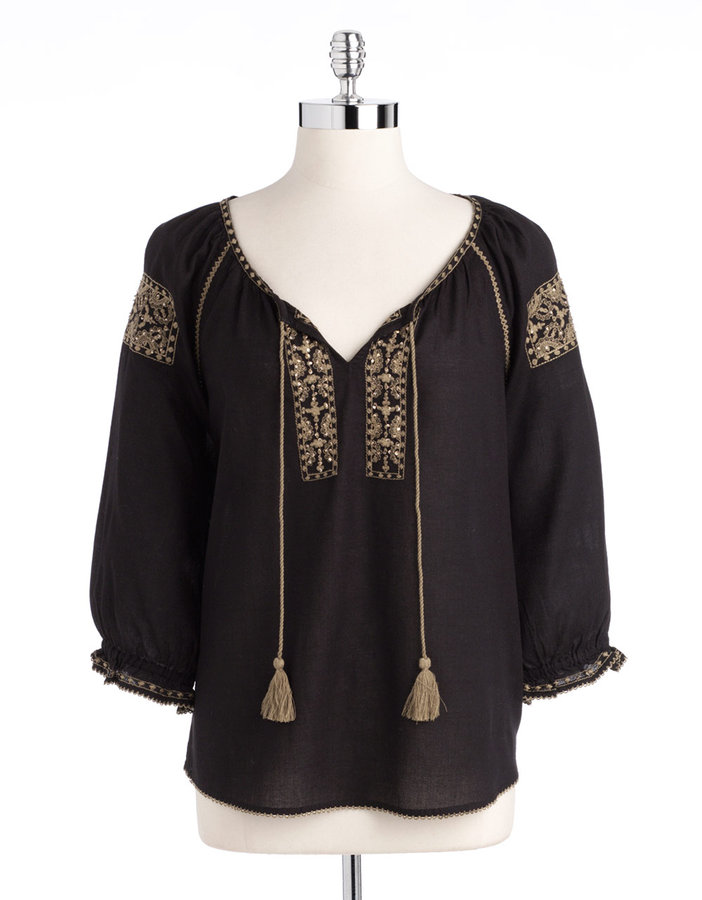 Lucky Brand Embellished Peasant Top