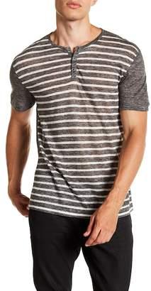 John Varvatos Collection Stripe Short Sleeve Linen Henley
