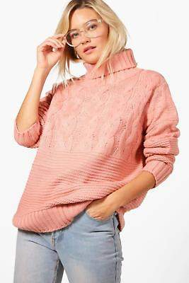 boohoo NEW Womens Roll Neck Cable Knit Jumper in Polyester