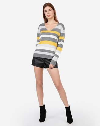 Express Relaxed Striped V-Neck Sweater