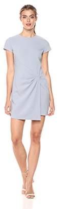 Halston Women's Short Sleeve Round Neck Wrap Drape Dress