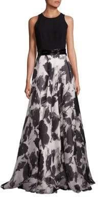Carmen Marc Valvo Beaded Belt Floral Silk-Blend Gown