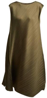 Pleats Please Issey Miyake Sleeveless Pleated Dress - Womens - Khaki