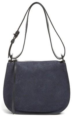 Allsaints Mini Echo Calfskin Suede & Leather Hobo - Blue $278 thestylecure.com