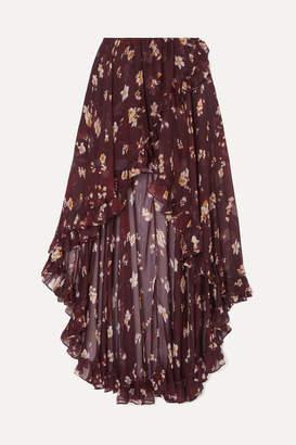 Caroline Constas Adelle Asymmetric Floral-print Silk-chiffon Skirt - Burgundy