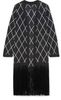 Liliana Emma Pake Fringed Printed Silk Crepe De Chine Robe - Black