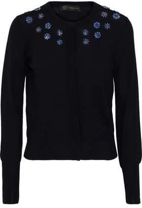 Versace Crystal-embellished Wool Cardigan