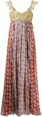 Valentino mixed print floral maxi dress