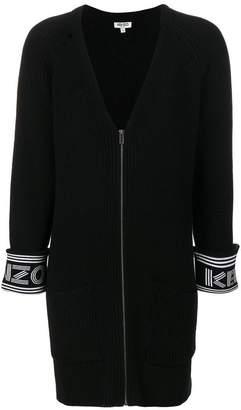 Kenzo logo trim ribbed zip cardigan