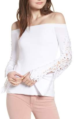Bailey 44 Lace Bell Sleeve Off the Shoulder Top