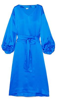 Rhode Resort - Delilah Belted Hammered Silk-satin Midi Dress - Blue