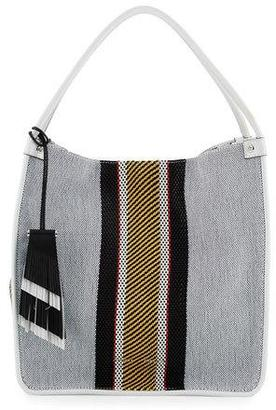 Proenza Schouler Woven Stripes Medium Tote Bag, Optic White/Mix $1,290 thestylecure.com