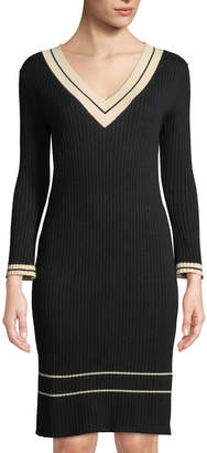 Few Moda V-Neck Tennis-Striped Sweater Dress