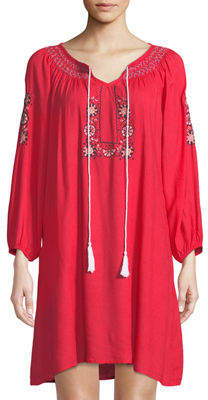 Raj Long-Sleeve Embroidered Peasant Dress
