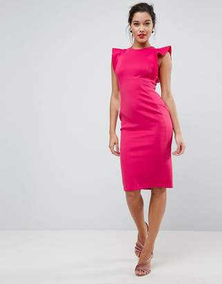 Asos Design Scuba Midi Pencil Dress With Frill Sleeve