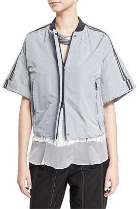 Brunello Cucinelli Monili-Stripe Short-Sleeve Cropped Jacket, Light Blue $2,495 thestylecure.com