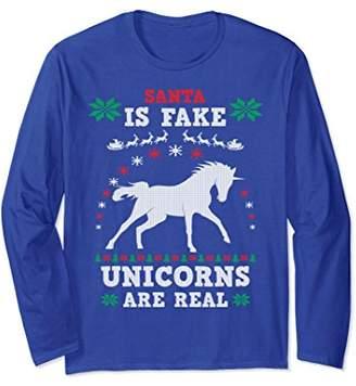 Unicorn Ugly Christmas Sweater Santa Long Sleeve Shirt