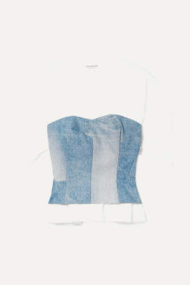 4a9cf2eaa Junya Watanabe Layered Cotton-jersey And Denim Top - Blue