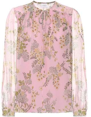 Giambattista Valli Floral silk tie-neck blouse