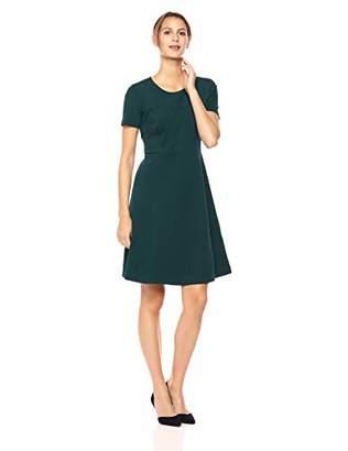 Lark & Ro Women's Half Sleeve Paneled Fit and Flare Dress