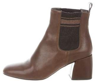Brunello Cucinelli Leather Ankle Boots Brown Leather Ankle Boots