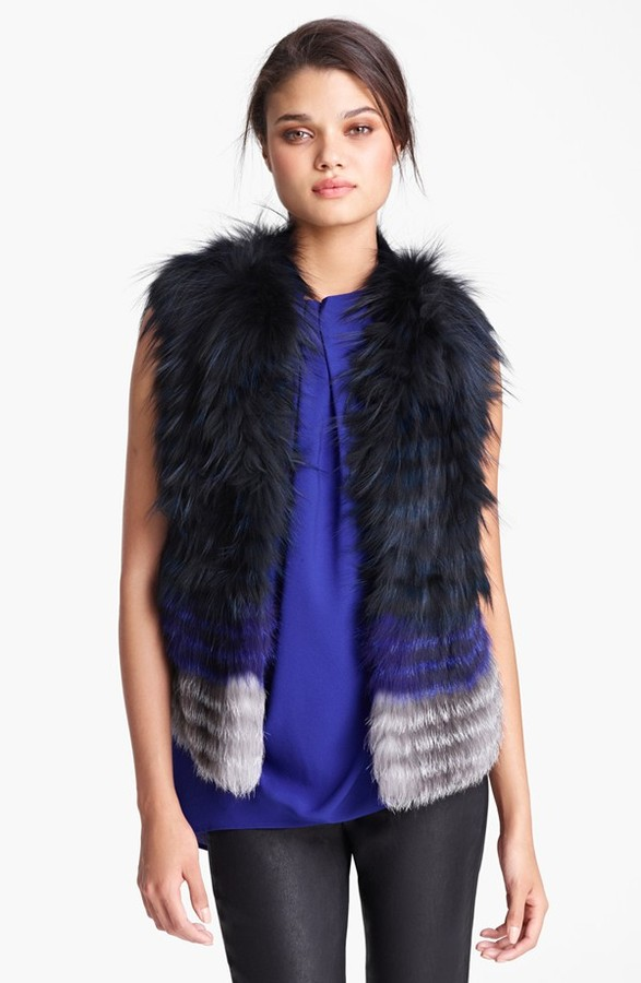Yigal Azrou?l Azrouël Genuine Silver Fox Fur Vest