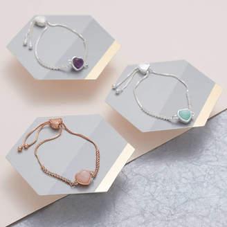 My Posh Shop Crystal And Semi Precious Heart Bracelet