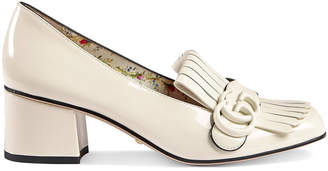 Gucci White Marmont 50 Patent Leather Pumps