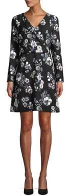 Adrianna Papell Floral Long Sleeve Wrap Dress