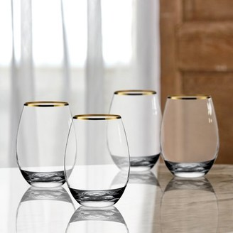 Better Homes & Gardens Gold Rim Stemless Glass Set of 4