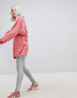 adidas adicolor three stripe leggings in grey