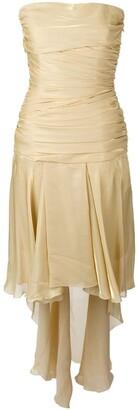 Jean Louis Scherrer Pre-Owned draped strapless train dress