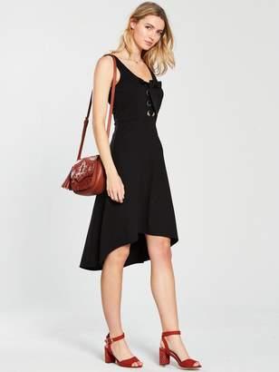 Very Large Eyelet Hi Lo Jersey Dress - Black