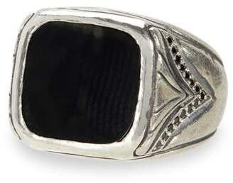 Artisan Metals Sterling Silver & Black Diamond Square Onyx Ring