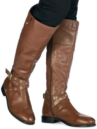 Faith Brown Leather 'Mildred' Calf Boots