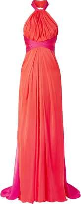 Brandon Maxwell Gathered Two-tone Silk-chiffon Halterneck Gown