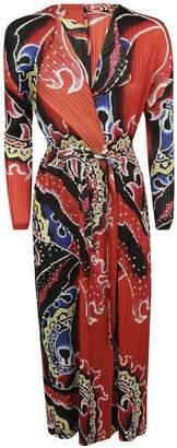 Pleats Please Issey Miyake Printed Pleated Long Dress