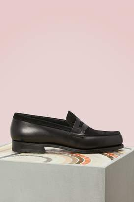 J.M. Weston Dual Material Velvet and Box Leather Loafers