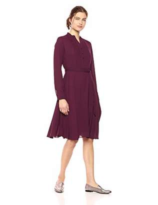 Nanette Lepore Nanette Women's Ls Pleated Shirt Dress W/Henley Nkln