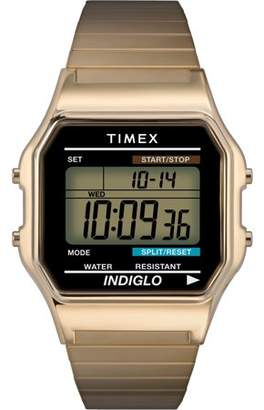 Timex Men's Classic Digital Watch, Gold-Tone Stainless Steel Expansion Band