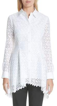 Lela Rose Cotton & Silk Lace Flare Hem Blouse