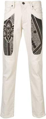 Jeckerson printed panel jeans
